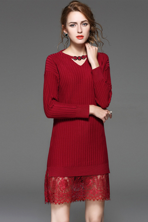 $73.99 Red Lace Sweater Dress