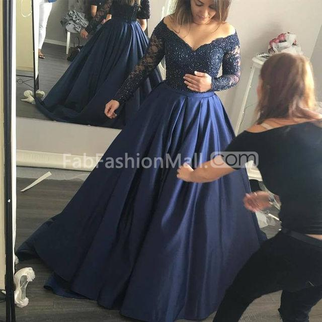$179.99 Plus Size Blue Ball Gown Long Sleeves Beading Prom Dresses 2018