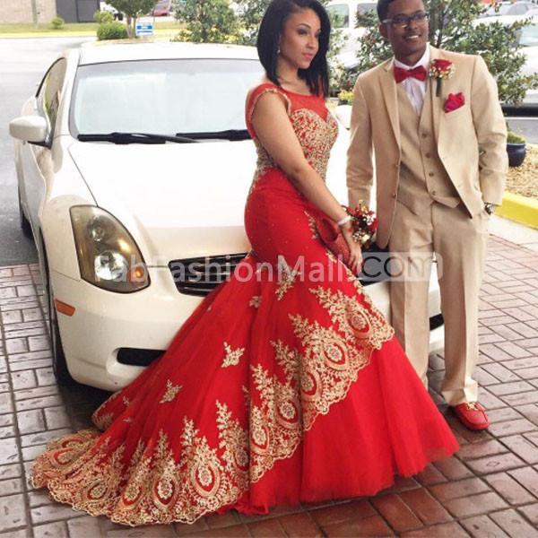 feed1a1d9da  159.99 Long Floral Red Mermaid Sleeveless Backless Appliques Prom ...