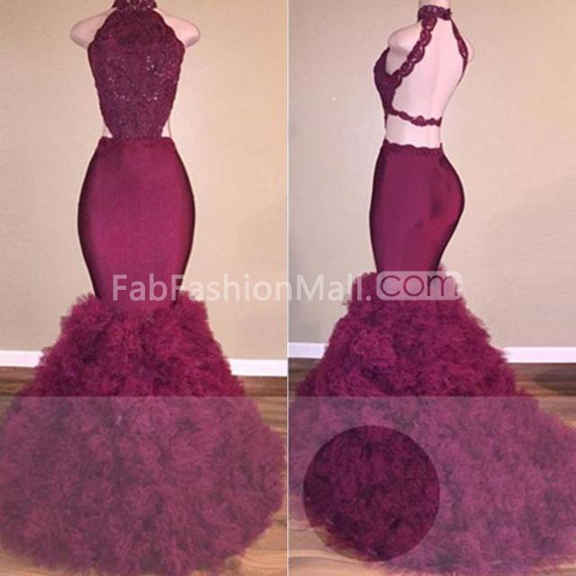 60120ab70b8  159.99 Long Sexy Burgundy Mermaid High Neck Sleeveless Backless Prom  Dresses 2019 Open Back
