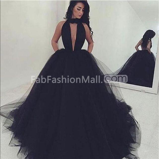 c6927b423b6  141.99 Long Sexy Black Ball Gown V-Neck Sleeveless Prom Dresses 2019