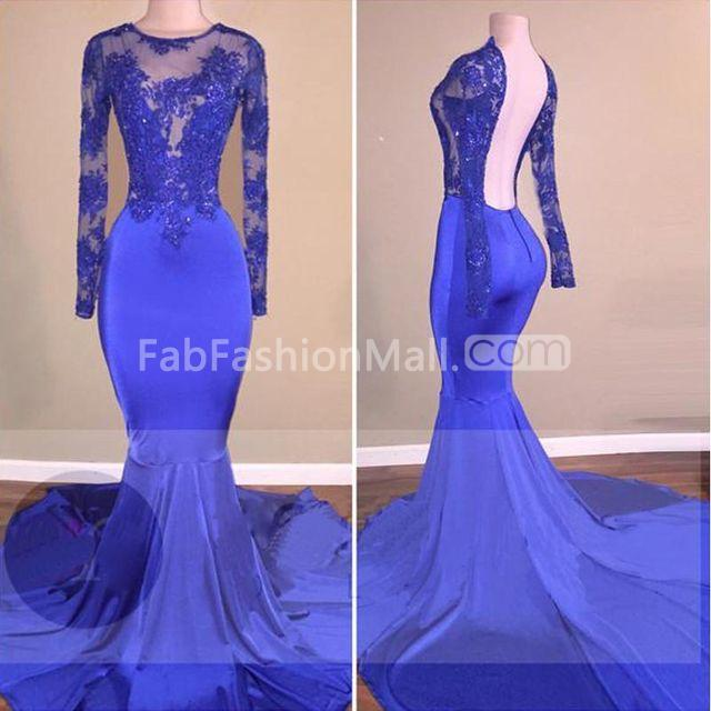 3a6ce0df4e  148.99 Sexy Blue Mermaid Long Sleeves Backless Appliques Prom Dresses 2019  Open Back