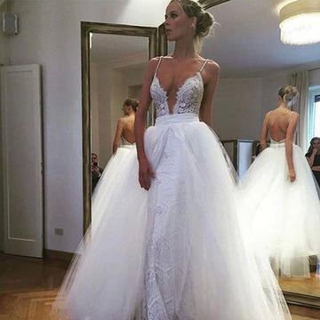226 99 White Long Wedding Dresses 2020 Ball Gown Sleeveless Open Back Lace Sexy For Short Girls,Outdoor Wedding Fall Wedding Guest Dresses 2020