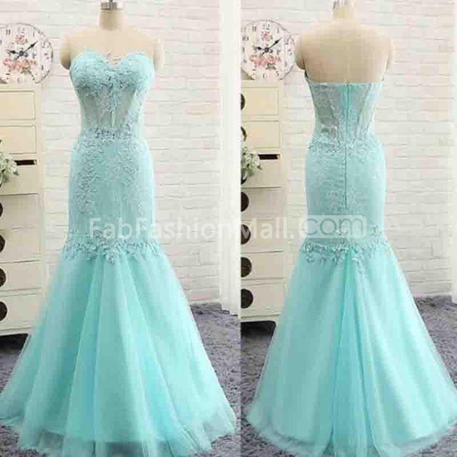 84667ca4b2  154.99 Long Sexy Blue Mermaid Strapless Sleeveless Zipper Appliques Prom  Dresses 2019