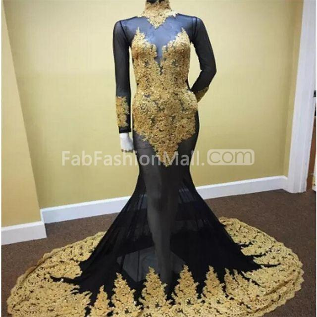 2498710075fa $169.99 Sexy Black and Gold Mermaid High Neck Long Sleeves Zipper Appliques Prom  Dresses 2019