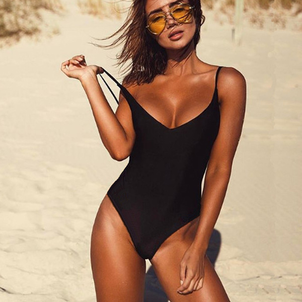 6dc220b76  29.84 2019 Sexy One Piece Swimsuit May Women Fused Swimwear Female Bather  Solid Black Thong Backless Monokini Beach Bathing Suit XL