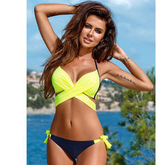 9026423f5f1 NAKIAEOI 2019 Sexy Bikini Women Swimsuit Push Up Swimwear Criss Cross Bandage  Halter Bikini Set Beach Bathing Suit Swim Wear XXL