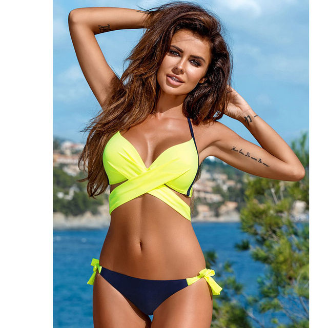 ece69d9dbac  28.89 NAKIAEOI 2019 Sexy Bikini Women Swimsuit Push Up Swimwear Criss  Cross Bandage Halter Bikini Set Beach Bathing Suit Swim Wear XXL