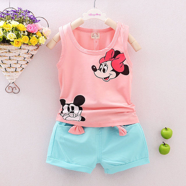f4c85aad924  12.38 Summer Cute Cartoon 2PCS Kids Baby Girls Floral Vest Top Shorts  Pants Set Clothes Girls Clothing Sets